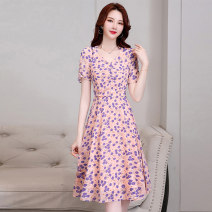 Dress Summer 2020 Yellow flower pink flower black bottom apricot flower black bottom safflower apricot bottom black flower M L XL XXL XXXL Mid length dress singleton  Short sleeve commute V-neck middle-waisted Decor Socket A-line skirt routine Others 25-29 years old Type A Meng Jia Xian Yi lady