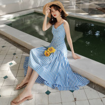 Dress Spring 2021 Blue and white stripes S,M,L,XL longuette singleton  Sleeveless commute V-neck High waist stripe Socket Irregular skirt camisole 25-29 years old Type A Korean version Fold, splice HD1255 91% (inclusive) - 95% (inclusive) other