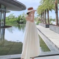 Dress Summer 2021 white S,M,L,XL longuette singleton  Sleeveless Sweet One word collar Loose waist Solid color Socket Big swing camisole 18-24 years old Type H backless Bohemia