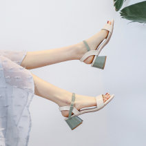 Sandals 34,35,36,37,38,39,40,41 Green, pink Superfine fiber According to the lottery Barefoot Thick heel Middle heel (3-5cm) Summer 2020 Flat buckle comfortable Color matching Adhesive shoes Youth (18-40 years old) rubber daily Bag heel Low Gang Hollow Microfiber skin Microfiber skin Flat buckle