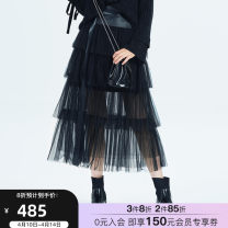 skirt Autumn of 2019 XS S M L black Mid length dress Sweet Natural waist A-line skirt Solid color Type A 25-29 years old More than 95% other QDA polyester fiber Polyester 100% Same model in shopping mall (sold online and offline) princess