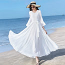 Dress Summer 2020 S,M,L,XL,2XL,3XL,4XL longuette singleton  Long sleeves commute V-neck High waist Solid color Socket Big swing puff sleeve Others Type X Simplicity Pleating, stitching, zipper 81% (inclusive) - 90% (inclusive) Chiffon