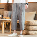 Casual pants Others Youth fashion Jute, blue, grey, light M,L,XL,2XL,3XL,4XL,5XL thin Cropped Trousers Other leisure easy No bullet K08-P45 summer 2019 middle-waisted Little feet Polyester 76% cotton 18% flax 6% Haren pants Three dimensional tailoring washing Geometric pattern other other