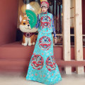 skirt Autumn of 2019 S. M, l, XL, special size contact customer service customization Lake Blue Red Dragon embroidery, red and green cloth longuette commute Natural waist A-line skirt Decor Type A FB00648/FB00508 51% (inclusive) - 70% (inclusive) brocade WASJULIET ethnic style