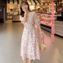 Nursing clothes Pink, blue M,L,XL,2XL Socket summer Short sleeve Medium length leisure time Dress Decor Chiffon
