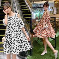 Nursing clothes Red dot, yellow dot, black dot M,L,XL,2XL Socket summer Short sleeve Medium length Korean version Dress Decor