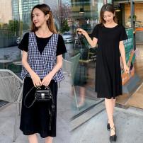 Nursing clothes Black [breast feeding], black [regular] M,L,XL,2XL,3XL Socket summer Short sleeve Medium length Korean version Dress Solid color cotton