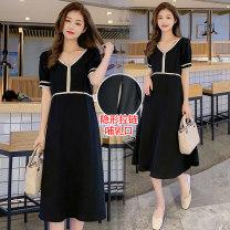 Nursing clothes black M,L,XL,2XL Socket summer Short sleeve Medium length Korean version Dress Decor