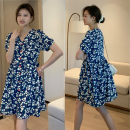 Nursing clothes Blue [breast feeding], blue [regular] M,L,XL,2XL Socket summer Short sleeve Medium length leisure time Dress Decor