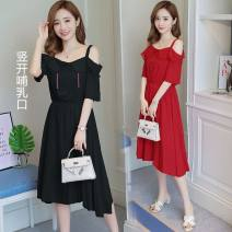 Nursing clothes Black, red M,L,XL,2XL Socket summer Sleeveless Medium length Korean version Dress Solid color Lift up