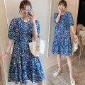 Nursing clothes blue M,L,XL,2XL Socket summer Short sleeve Medium length leisure time Dress Plants and flowers