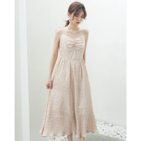 Dress Summer 2021 Black, green, yellow, beige S, M Mid length dress singleton  Sleeveless commute V-neck High waist Solid color Socket A-line skirt other camisole 18-24 years old Type A Korean version Splicing, special materials, pleating technology 91% (inclusive) - 95% (inclusive) other