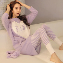 Pajamas / housewear set female Other / other M suggests less than 100 kg, l suggests 100-110 kg, XL suggests 110-120 kg, XXL suggests 120-140 kg DLS long sleeve purple pink suit [quality version] , Random delivery T-shirt [short sleeve] Polyester (polyester) Long sleeves Cartoon Leisure home autumn