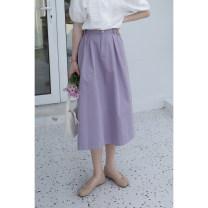 skirt Summer 2020 S,M,L Purple, black, cream Mid length dress commute High waist High waist skirt Solid color Type A BQ276 31% (inclusive) - 50% (inclusive) other cotton fold Simplicity