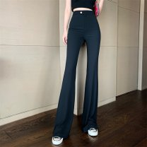Casual pants Apricot, black S,M,L Spring 2021 trousers Flared trousers High waist commute routine 18-24 years old 81% (inclusive) - 90% (inclusive) B123 polyester fiber Korean version pocket polyester fiber