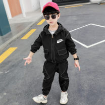 suit Other / other black 90cm,100cm,110cm,120cm,130cm,140cm,150cm male spring and autumn leisure time Long sleeve + pants 2 pieces routine There are models in the real shooting Zipper shirt No detachable cap Solid color cotton children Expression of love Class B Cotton 90% other 10% Chinese Mainland