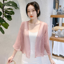 Lace / Chiffon Summer 2020 Apricot, white, pink S,M,L,XL,2XL Nine point sleeve Versatile Cardigan singleton  easy have cash less than that is registered in the accounts V-neck pagoda sleeve 25-29 years old Three dimensional decoration 96% and above nylon