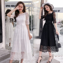 Dress Summer of 2018 White, black S,M,L,XL longuette singleton  Short sleeve commute One word collar middle-waisted other zipper other Sleeve Others 18-24 years old Type A Other / other Korean version zipper Cashmere cotton