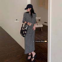Dress Summer 2021 Gray, black Average size longuette singleton  Short sleeve commute Crew neck High waist stripe Socket other other Others 18-24 years old Korean version 30% and below other other