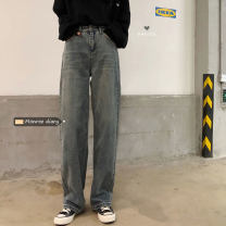 Jeans Autumn 2020 blue S,M,L,XL trousers High waist Knickerbockers routine 18-24 years old Dark color 30% and below