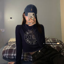 T-shirt dark blue Average size Winter 2020 Long sleeves Crew neck Self cultivation have cash less than that is registered in the accounts routine commute other 30% and below 18-24 years old Korean version
