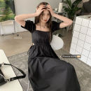 Dress Spring 2021 black Average size Mid length dress singleton  Short sleeve commute square neck High waist Solid color Socket puff sleeve Others 18-24 years old Type A Korean version 30% and below