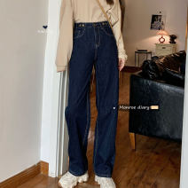 Jeans Autumn 2020 navy blue S,M,L trousers High waist Knickerbockers routine 18-24 years old Dark color 30% and below