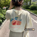 T-shirt Apricot, white Average size Summer 2020 Short sleeve Crew neck easy Medium length commute other 30% and below 18-24 years old Korean version Cartoon animation
