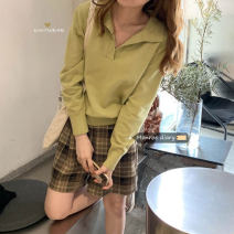 Wool knitwear Autumn 2020 Average size Brown, off white, green, black, light khaki, orange, white stripe, black stripe Long sleeves singleton  Socket other 30% and below have cash less than that is registered in the accounts commute easy Solid color Korean version 18-24 years old