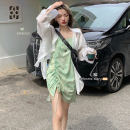 Dress Summer 2021 green Average size Short skirt singleton  Sleeveless commute High waist camisole 18-24 years old Type A Retro Pleating 30% and below