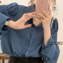 shirt Apricot, white, blue Average size Autumn 2020 other 30% and below Long sleeves commute Medium length Single row multi button Solid color 18-24 years old Straight cylinder Korean version
