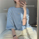 T-shirt blue Average size Summer 2021 Short sleeve Crew neck easy Medium length commute other 30% and below 18-24 years old Korean version Thick horizontal stripe