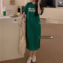 Dress Summer 2021 Grey, green, black Average size longuette singleton  Short sleeve commute Crew neck letter routine 18-24 years old Korean version 30% and below other