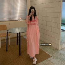 Dress Summer 2021 Pink Average size longuette singleton  Short sleeve commute Crew neck Loose waist Solid color Socket other raglan sleeve Others 18-24 years old Type A Korean version 30% and below other other