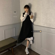 Dress Winter 2016 Shirt, black skirt, blue-green skirt Average size Mid length dress singleton  Sleeveless commute square neck High waist Solid color Socket A-line skirt straps 18-24 years old Korean version 30% and below