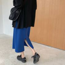 skirt Autumn of 2019 Average size Black top, yellow top, blue skirt, black skirt Mid length dress commute High waist Solid color 18-24 years old 71% (inclusive) - 80% (inclusive) Korean version