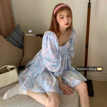 Dress Summer 2021 Decor Average size Short skirt singleton  Long sleeves commute square neck High waist Socket Others 18-24 years old Type A Retro 30% and below