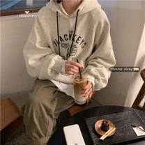 Sweater / sweater Autumn 2020 Light grey, black grey Average size Long sleeves Medium length Socket singleton  Hood easy commute 18-24 years old 30% and below Korean version