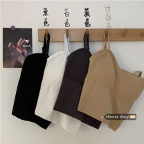 Vest sling Spring 2021 Khaki, dark grey, white, black Average size singleton  have cash less than that is registered in the accounts Self cultivation commute camisole Solid color 18-24 years old 30% and below cotton backless