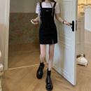 Dress Summer 2020 Black strap skirt 808, white backing t559 S. M, l, average size Mid length dress singleton  Sleeveless commute High waist Solid color Socket A-line skirt straps 18-24 years old Type A Korean version
