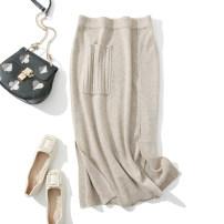 skirt Autumn 2020 M, L Grey, brown, beige Mid length dress commute High waist More than 95% wool
