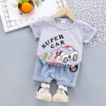 suit Other / other Yellow, green, gray, orange 80cm,90cm,100cm,110cm male summer Cartoon Short sleeve + pants 2 pieces routine No model Socket nothing printing cotton children Expression of love Class B Cotton 100% 12 months, 3 years, 18 months, 2 years Chinese Mainland