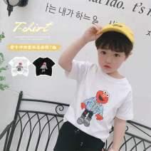T-shirt White, black Other / other 80cm,90cm,100cm,110cm,120cm,130cm neutral summer Korean version cotton Cartoon animation Three, four, five, six, seven, eight