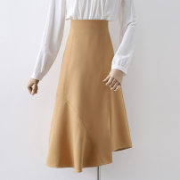 skirt Autumn 2020 S,M,L,XL Black, orange Mid length dress commute High waist A-line skirt Solid color Type A 18-24 years old 91% (inclusive) - 95% (inclusive) other other Korean version