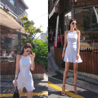 Dress Summer 2020 White, green, black XS,S,M,L,XL Short skirt singleton  Sleeveless commute Crew neck middle-waisted Solid color zipper A-line skirt routine camisole 25-29 years old Type A Korean version 51% (inclusive) - 70% (inclusive) other hemp