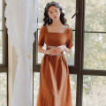 Dress Summer 2021 Caramel S,M,L longuette singleton  Short sleeve Sweet One word collar High waist Solid color zipper Princess Dress routine Others Type A Stitching, bandage, zipper 31% (inclusive) - 50% (inclusive)