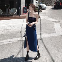 skirt Summer 2021 S,M,L,XL Blue in stock Mid length dress Versatile High waist Denim skirt Solid color Type A 25-29 years old Denim Asymmetry