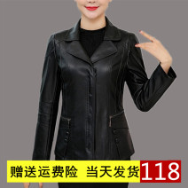 leather clothing Other / other Autumn 2021 Black, red, cotton black, cotton red routine Long sleeves Self cultivation commute Polo collar zipper routine W1898878852888PY PU Button 40-49 years old 81% (inclusive) - 90% (inclusive) Wash skin