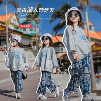 suit Other / other grey 120 cm, 120 cm, 120 cm, 120 cm, 120 cm, 120 cm, 120 cm, 120 cm, 120 cm, 120 cm, 120 cm female spring and autumn Korean version Long sleeve + pants 2 pieces routine There are models in the real shooting Socket nothing other cotton Expression of love Class B