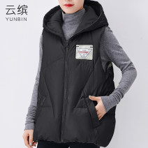 Vest Winter 2020 Silver Black M L XL 2XL 3XL routine Hood commute Solid color zipper other 40-49 years old Colorful clouds 96% and above polyester fiber Pocket zipper Polyester 100% Pure e-commerce (online only) More than 90% white duck down